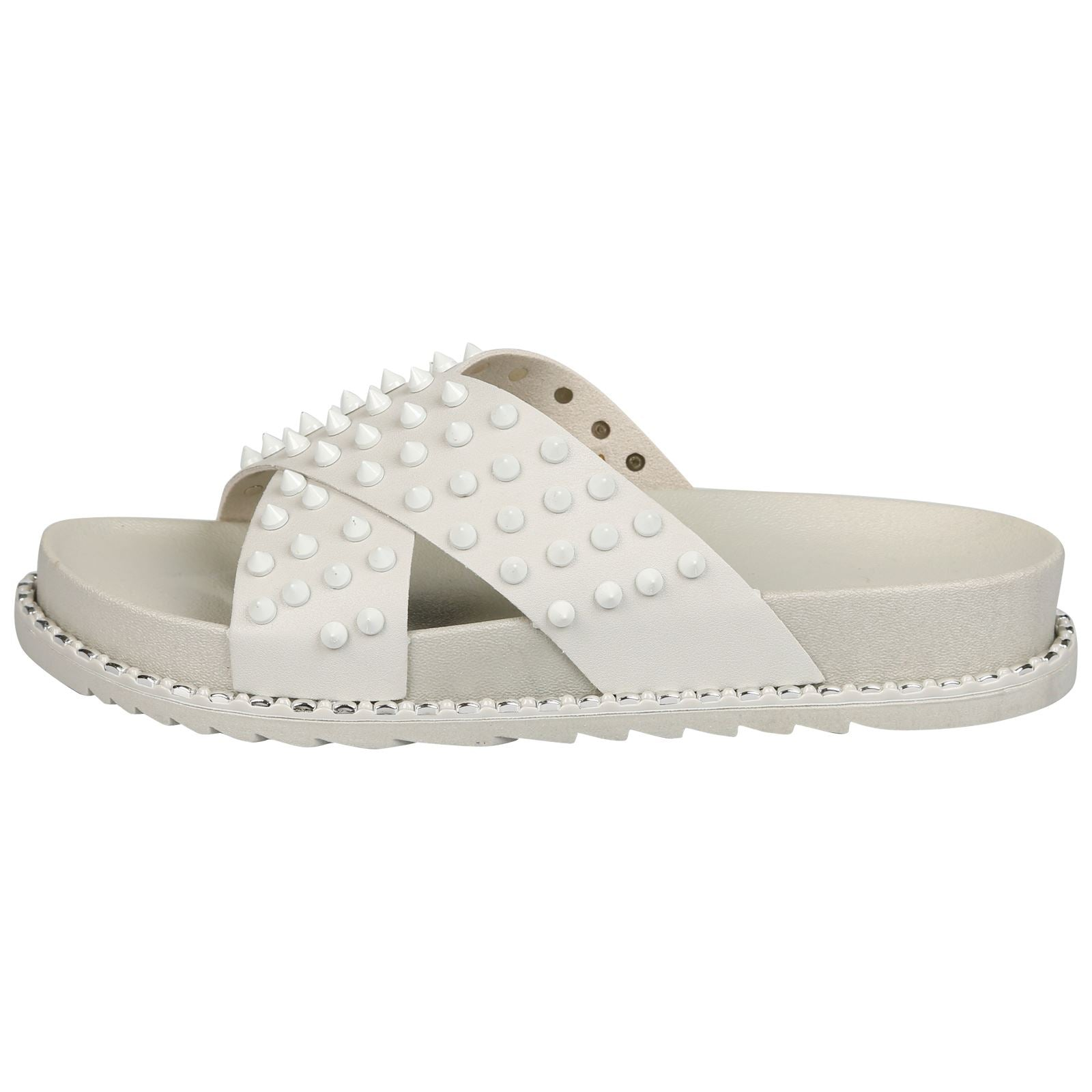 Mooya Studded Cross Strap Sliders in Grey Rubber