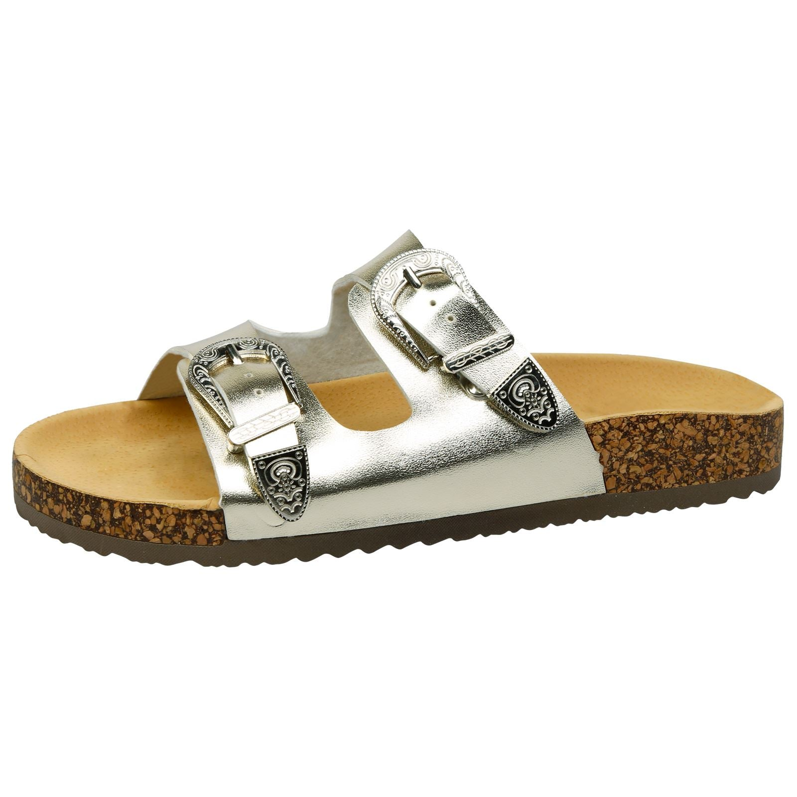 Meredith Buckled Sliders in Gold Faux Leather