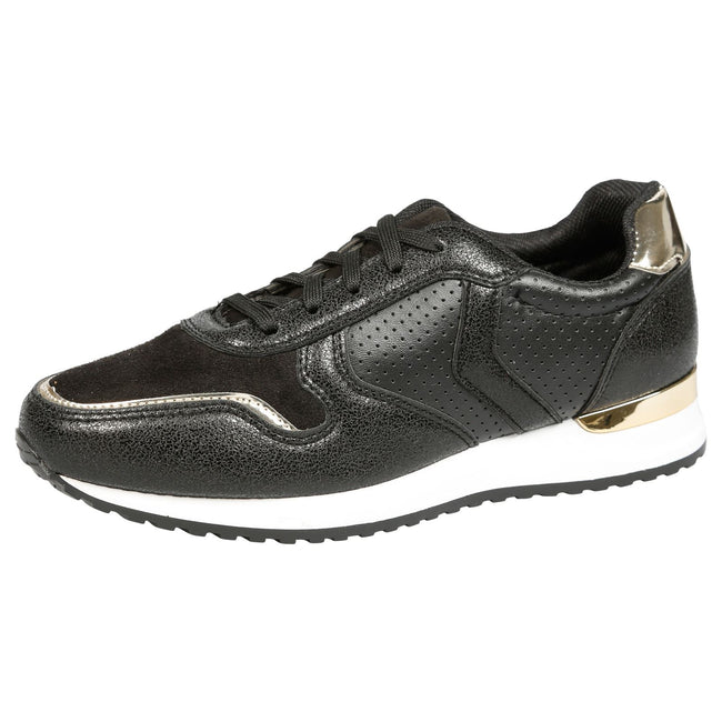 Shanon Sporty Lace Up Trainers in Black
