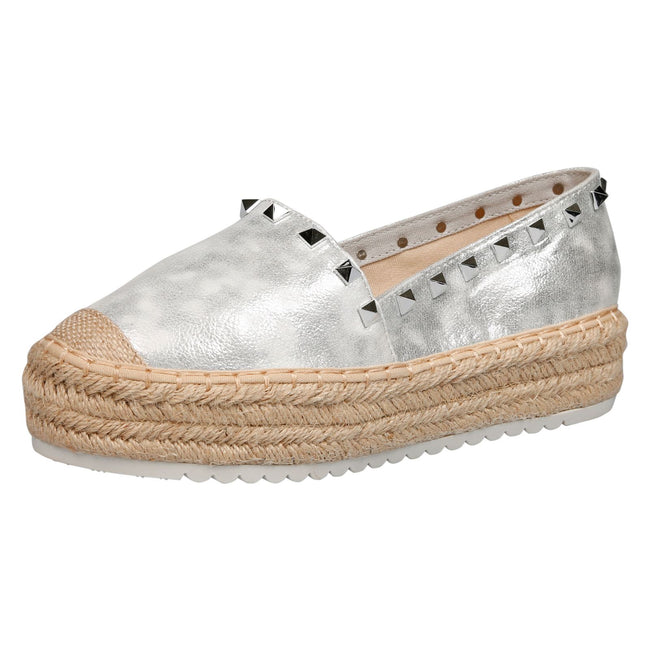 Marisol Studded Flatform Espadrilles in Silver Faux Leather