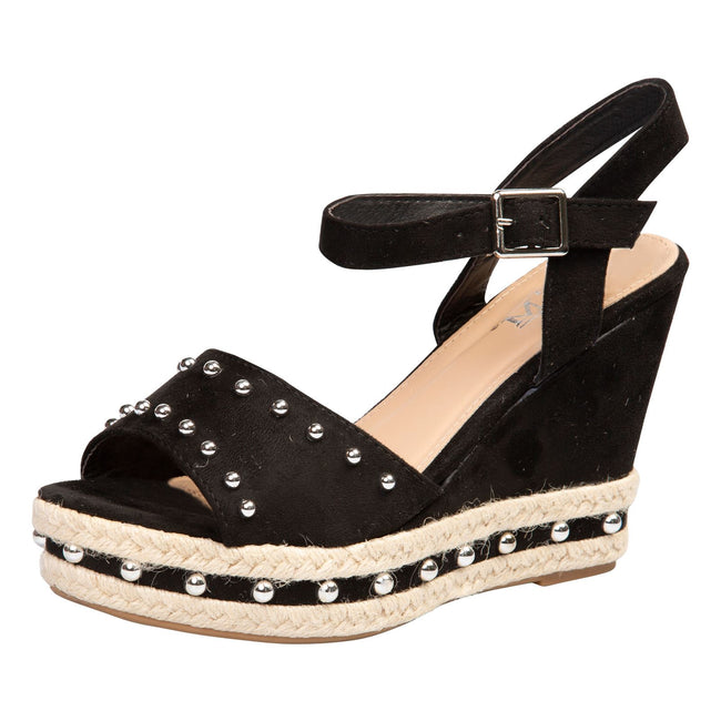 Bridie Studded Platform Sandals in Black Faux Suede