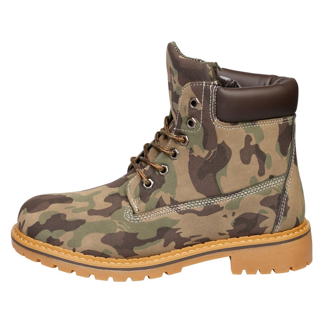 Tiana Lace Up Ankle Boots in Camouflage - Feet First Fashion