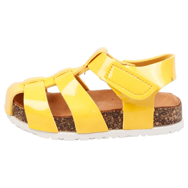 Poppy Girls Footbed Gladiator Sandals in Yellow Patent - Feet First Fashion