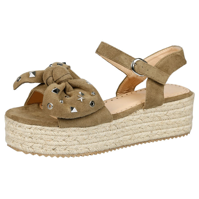 Selma Studded Bow Flatform Espadrille Sandals in Green Faux Suede