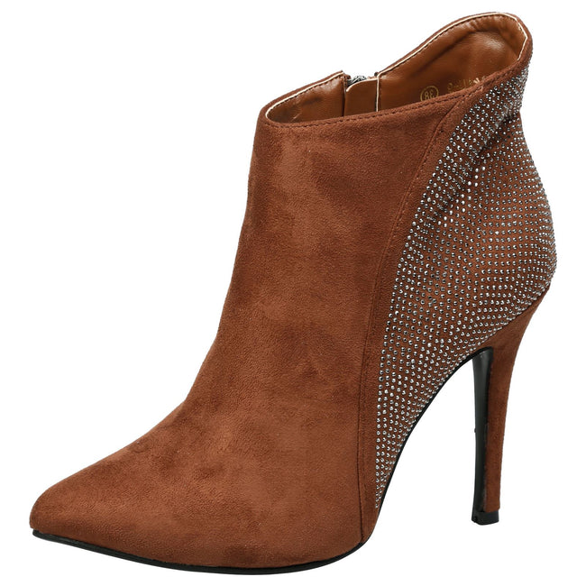 Tristana Diamante Stiletto Heel Ankle Boots in Camel Faux Suede