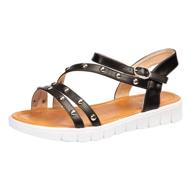 Violet Studded Sandals in Black Faux Leather - Feet First Fashion