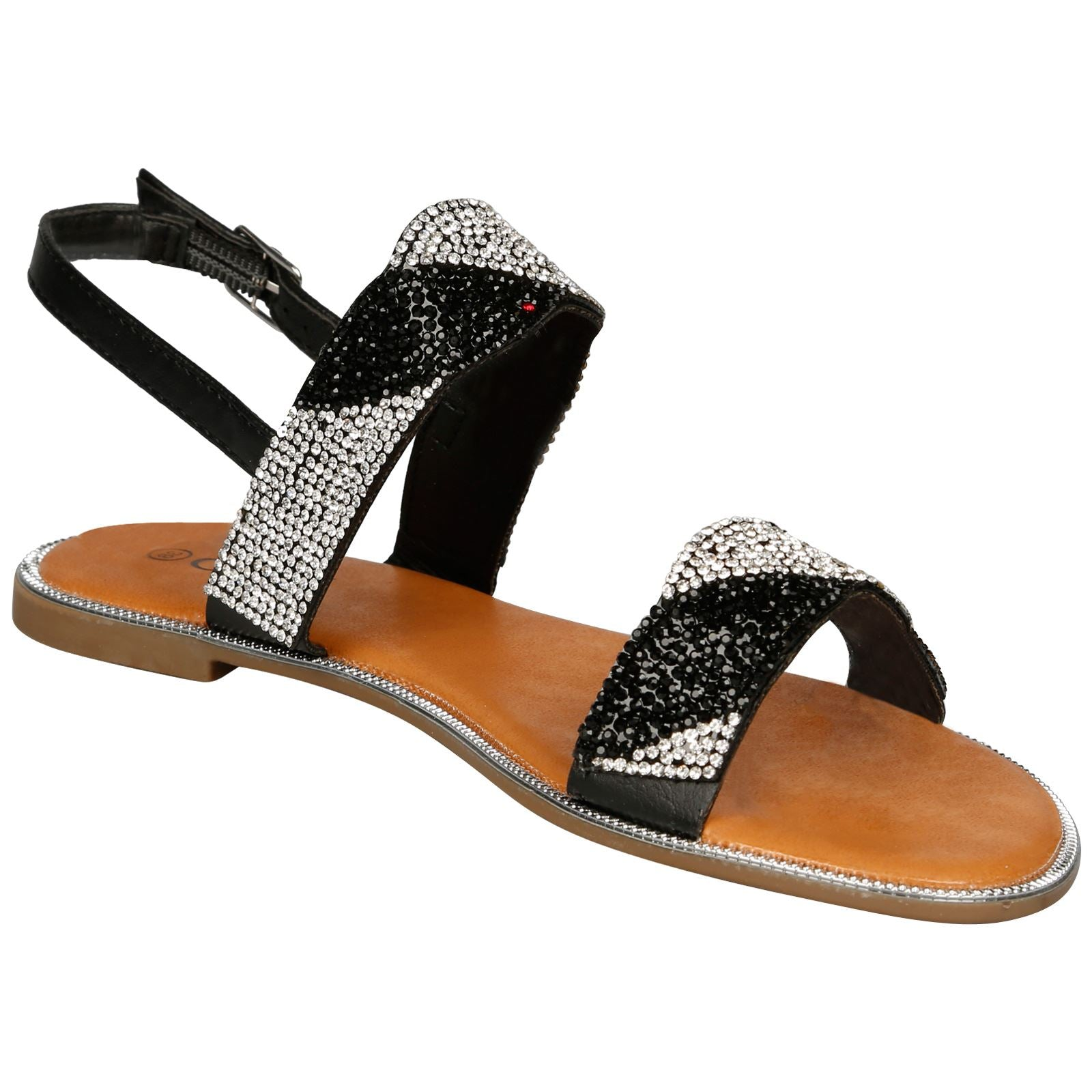 Meadow Diamante Stripe Sandals in Black Faux Leather
