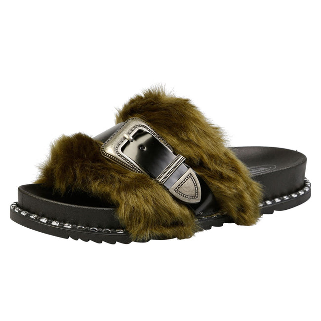 Taya Buckled Furry Sliders in Green