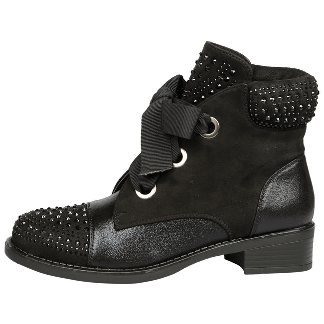 Nathalie Studded Lace Up Ankle Boots in Black - Feet First Fashion