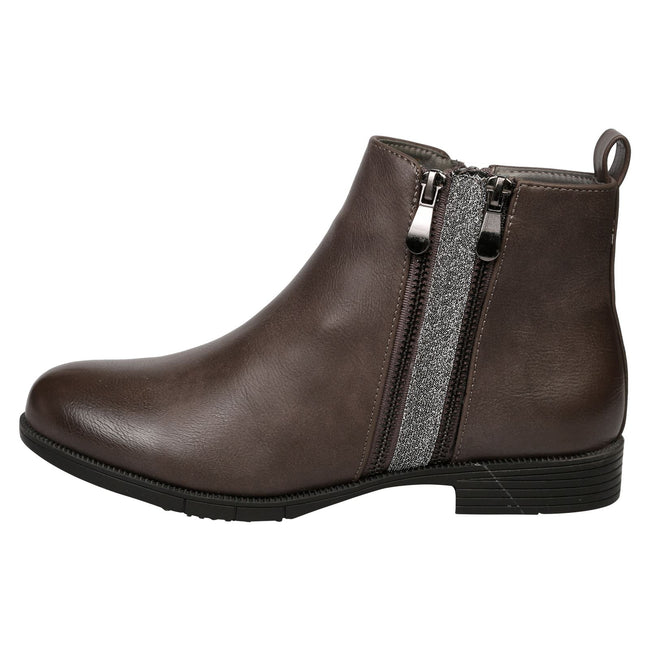 Azariah Zip Up Ankle Boots in Grey Faux Leather - Feet First Fashion