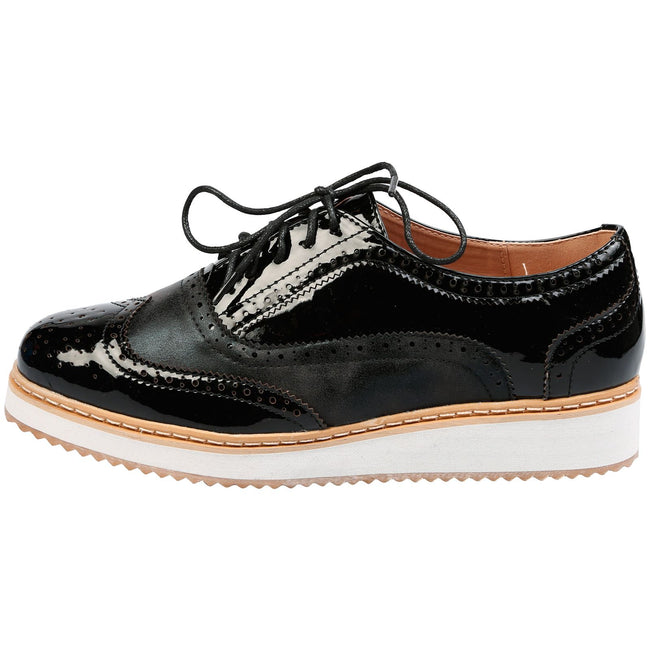 Bridget Two Tone Flatform Brogues in Black