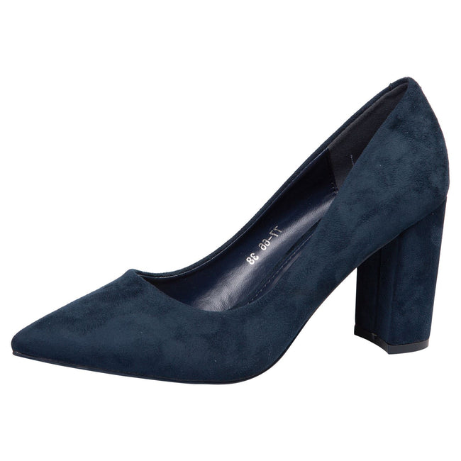 Connie Block Heel Court Shoes in Navy Blue Faux Suede