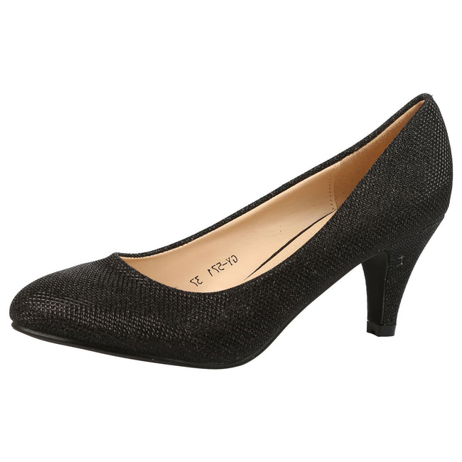 Leona Mid Heel Court Shoes in Black Shimmer