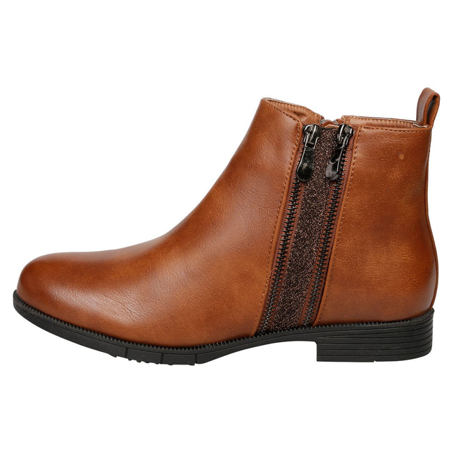 Azariah Zip Up Ankle Boots in Camel Faux Leather - Feet First Fashion
