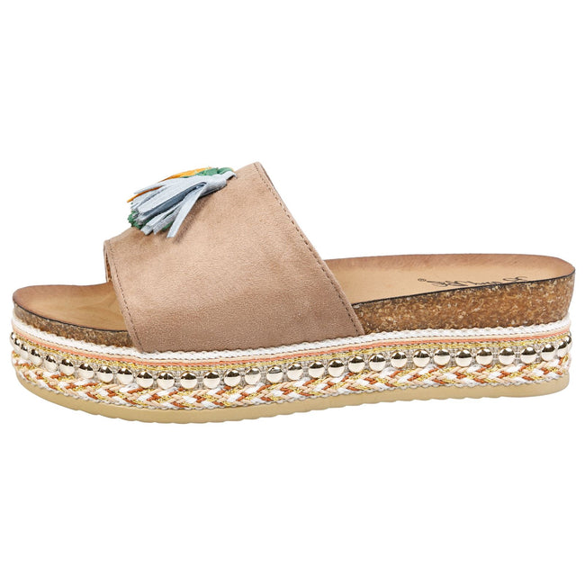 Lyanna Flatform Tassel Sliders in Tan Faux Suede