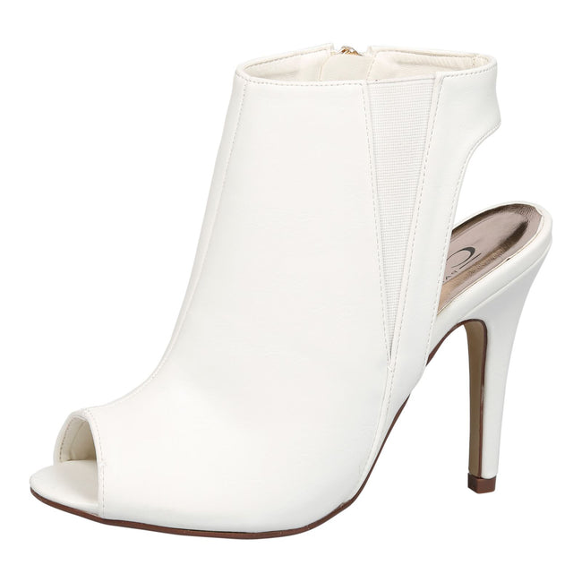 Elizabeth Peep Toe Stiletto Ankle Boots in White Faux Leather