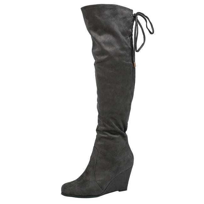 Billie Wedge Over the Knee Boots in Grey Faux Suede