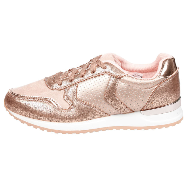 Shanon Sporty Lace Up Trainers in Rose Gold
