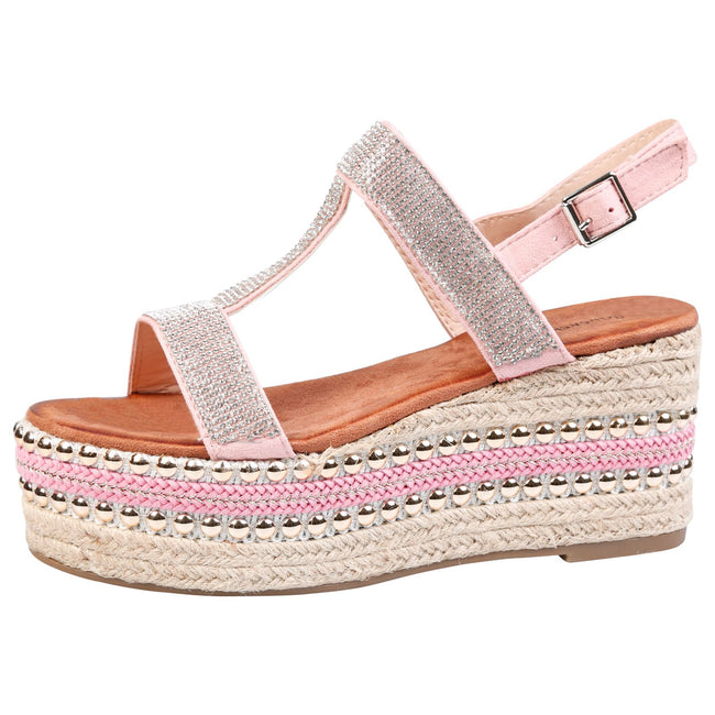 Brenda Diamante Espadrille Sandals in Pink Faux Suede