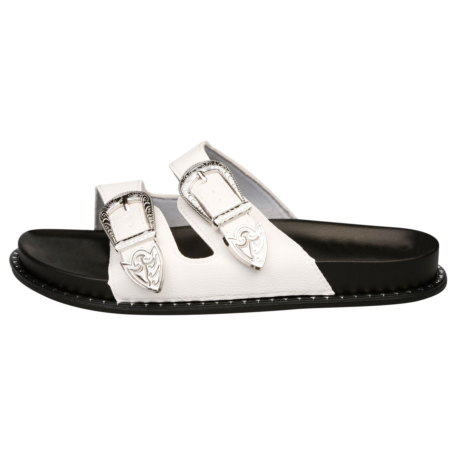 Harmoni Buckle Detail Flat Sandals in White - Feet First Fashion