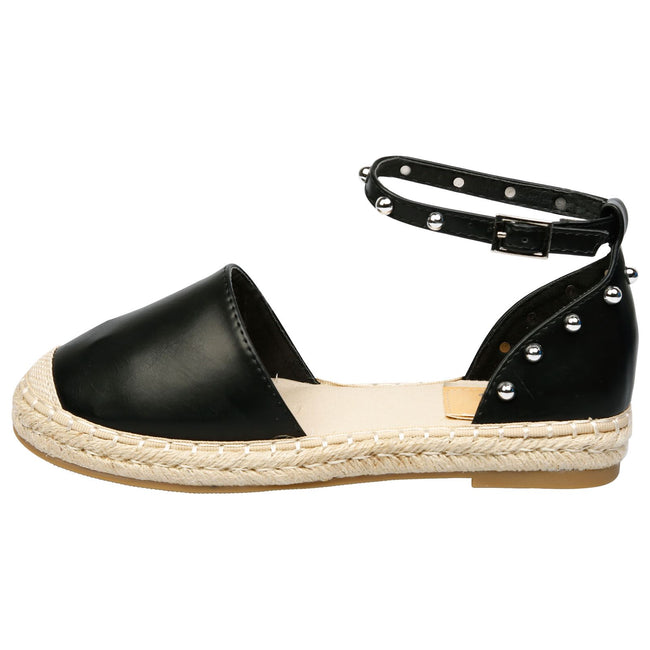 Andrea Studded Ankle Strap Espadrilles in Black Faux Leather