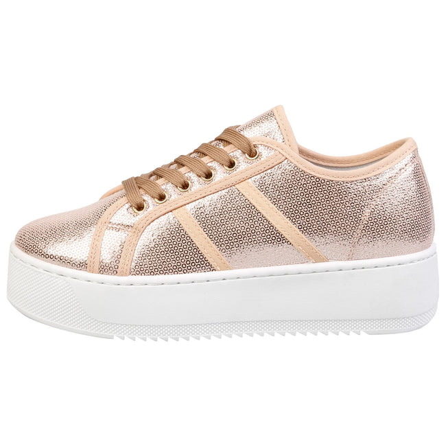 Brylee Chunky Flatform Trainers in Rose Gold