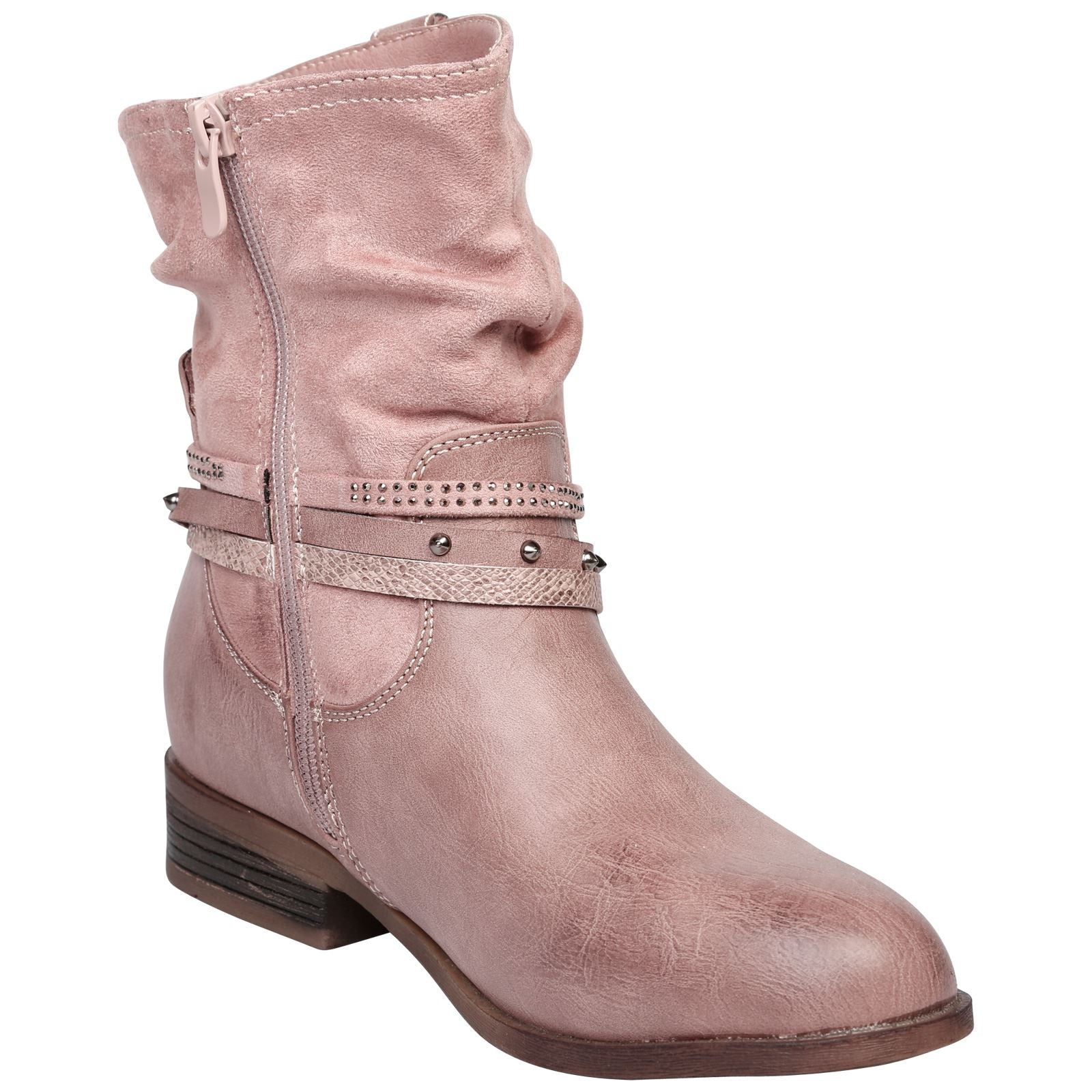 Dream Strappy Ankle Boots in Dusty Pink - Feet First Fashion