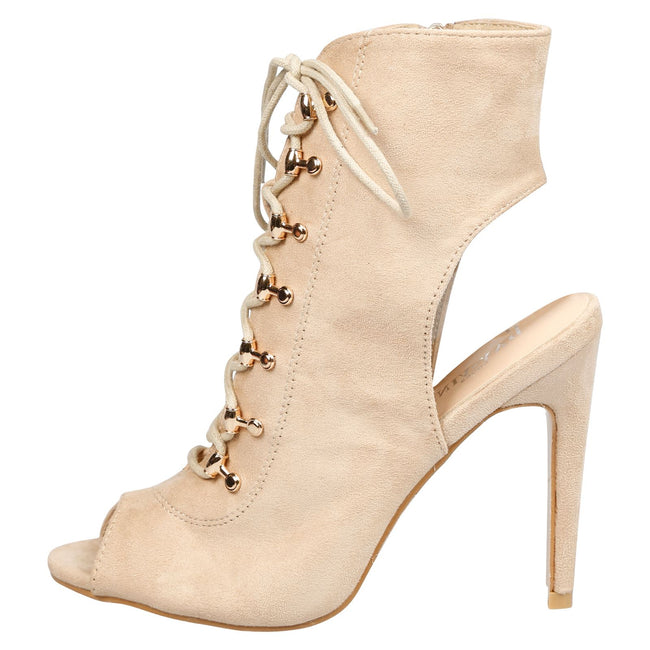 Viviana Lace Up Peep Toe Ankle Boots in Beige Faux Suede