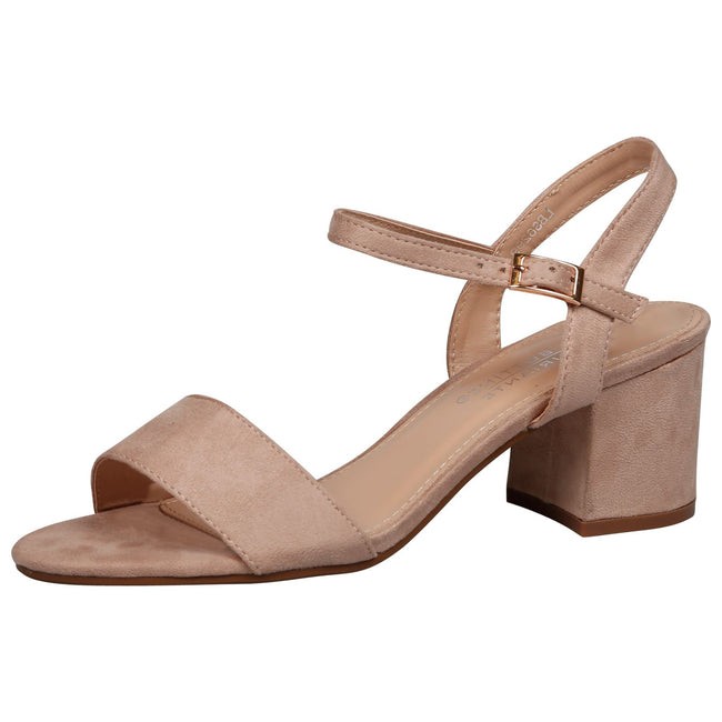 Aaliyah Low Block Heel Sandals in Beige Faux Suede