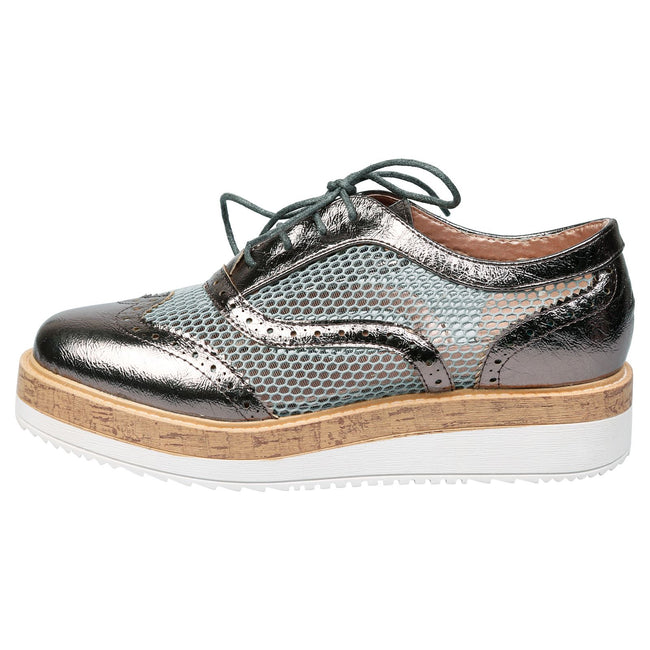 Alana Mesh Side Flatform Brogues in Pewter