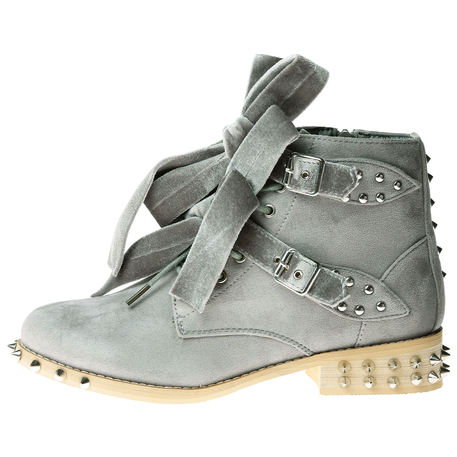 Heather Studded Biker Ankle Boots in Grey Faux Suede