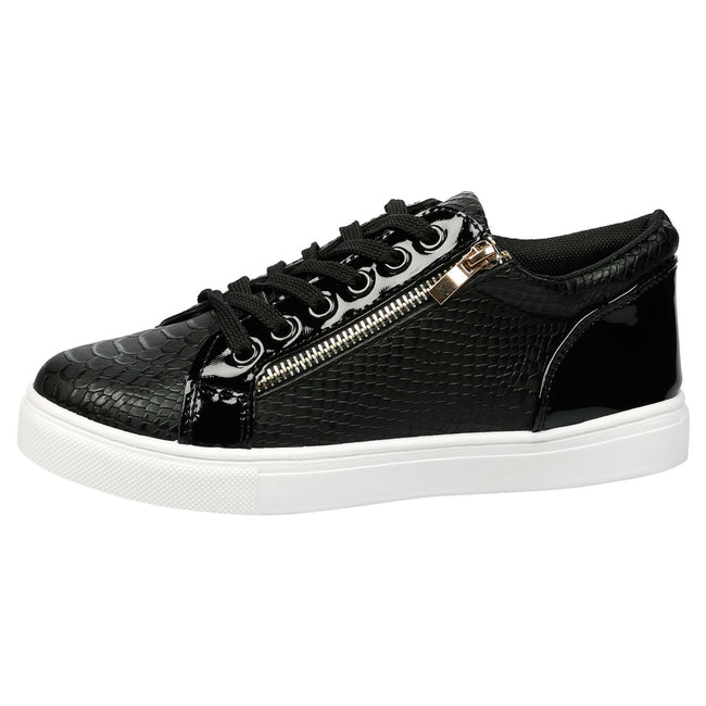 Rowena Lace Up Skater Trainers in Black Snake