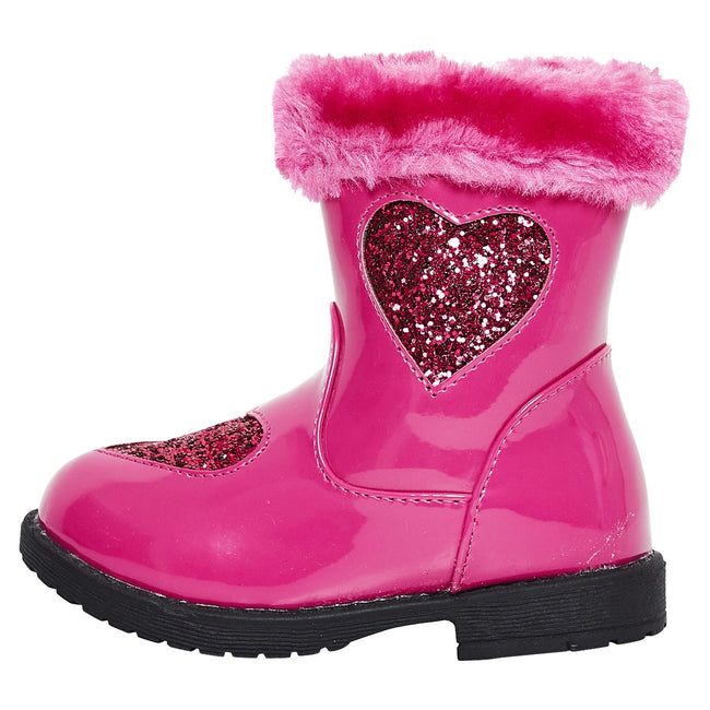 Brittany Girls Ankle Boots in Fuchsia Patent