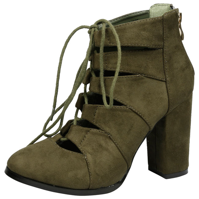 Florence Block Heel Lace Up Ankle Boots in Green Faux Suede