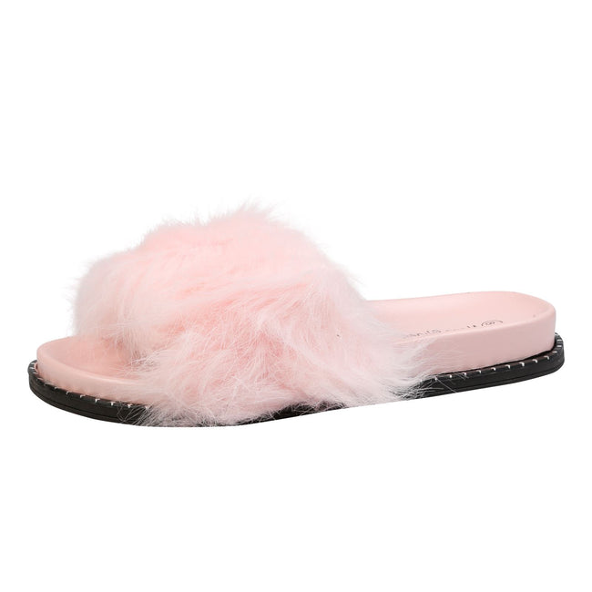 Roxanne Fluffy Sliders in Pink