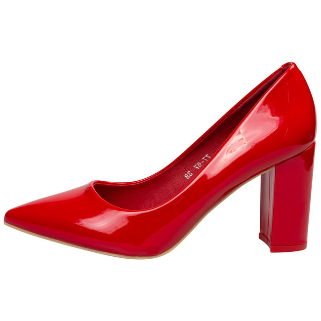 Connie Block Heel Court Shoes in Red Patent - Feet First Fashion