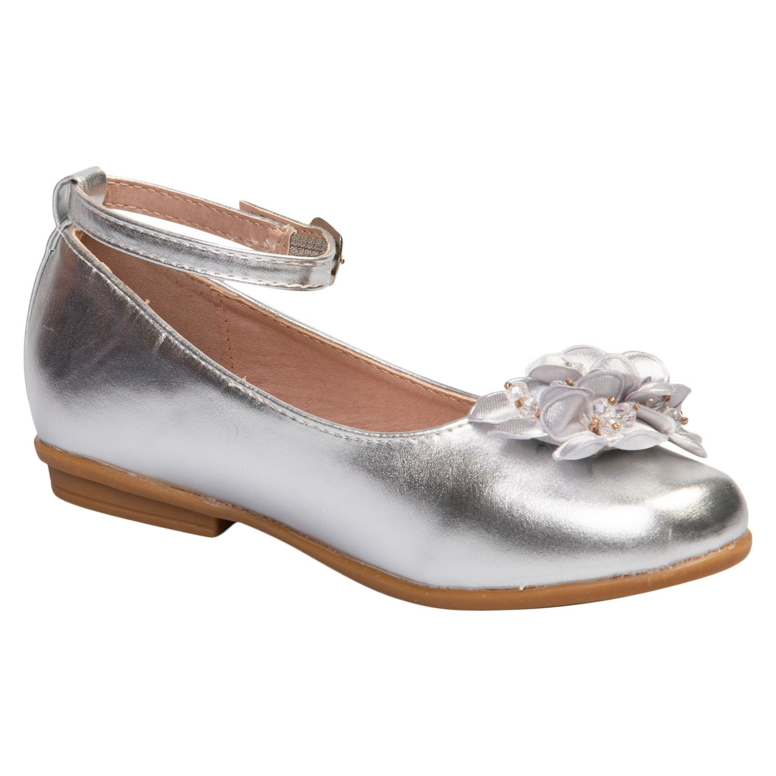 Nellie Girls Floral Ballerinas in Silver Faux Leather - Feet First Fashion