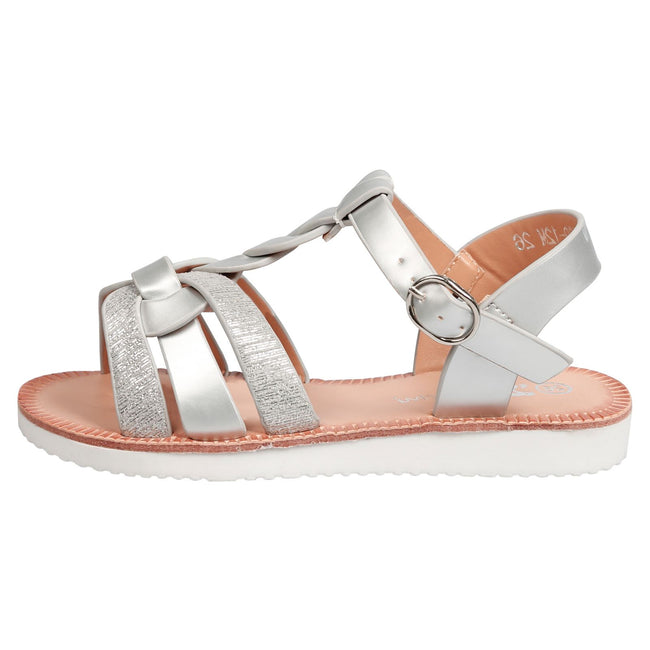 Yumi Girls Two Tone Strappy Sandals in Silver Patent - Feet First Fashion