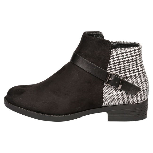 Hailee Houndstooth Ankle Boots in Black - Feet First Fashion