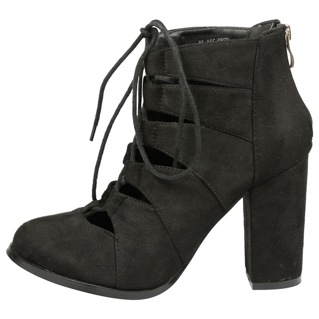 Florence Block Heel Lace Up Ankle Boots in Black Faux Suede