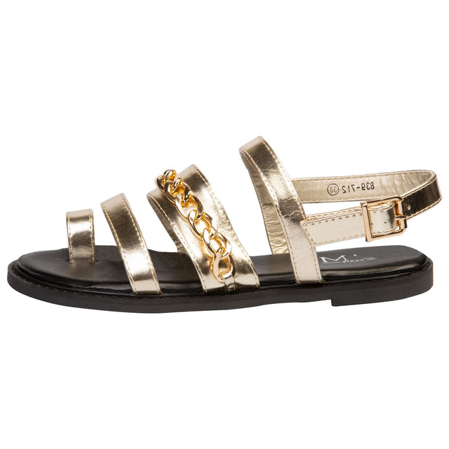 Samantha Toe Ring Chain Sandals in Gold Faux Leather - Feet First Fashion