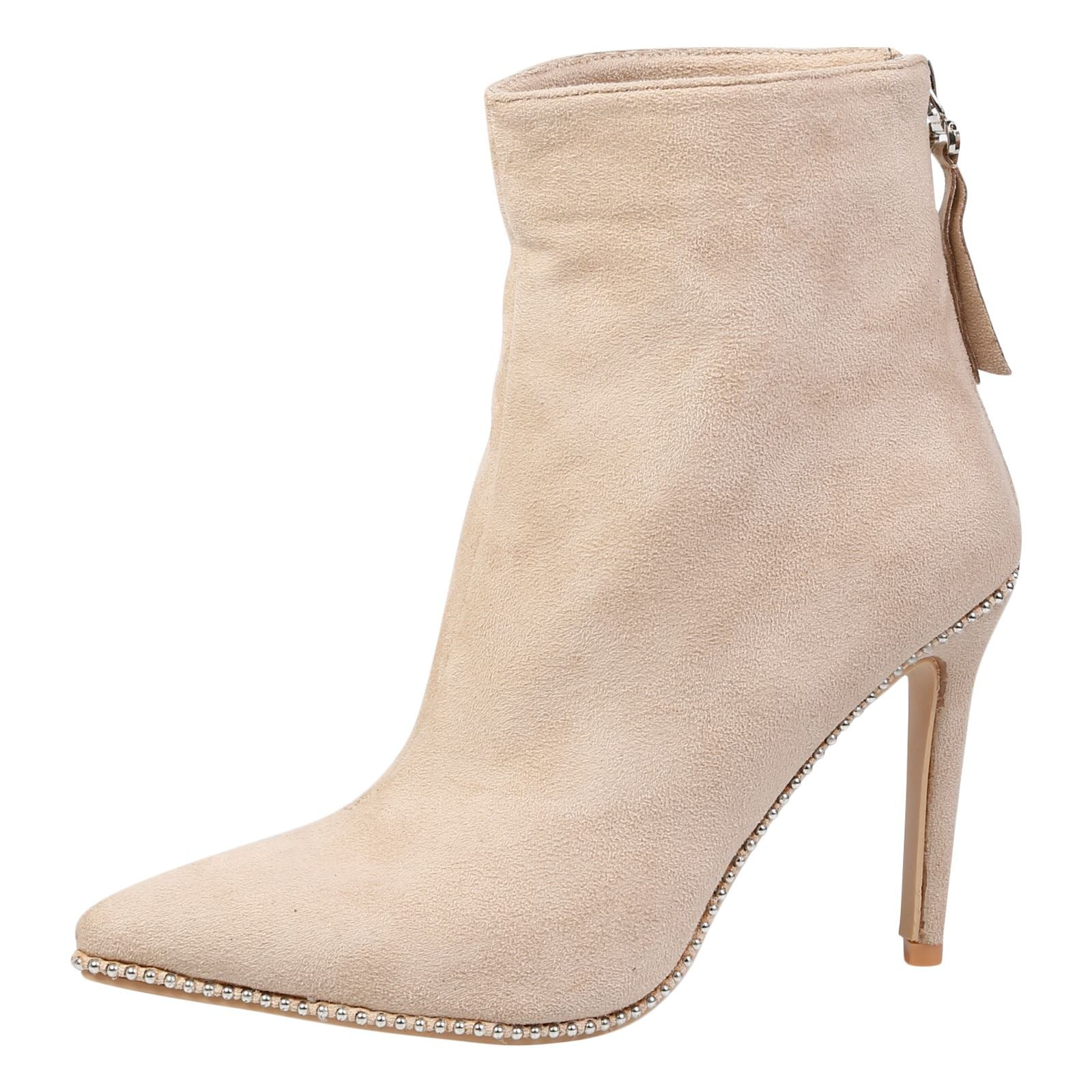 Emmie Stilleto Heel Ankle Boots in Nude - Feet First Fashion