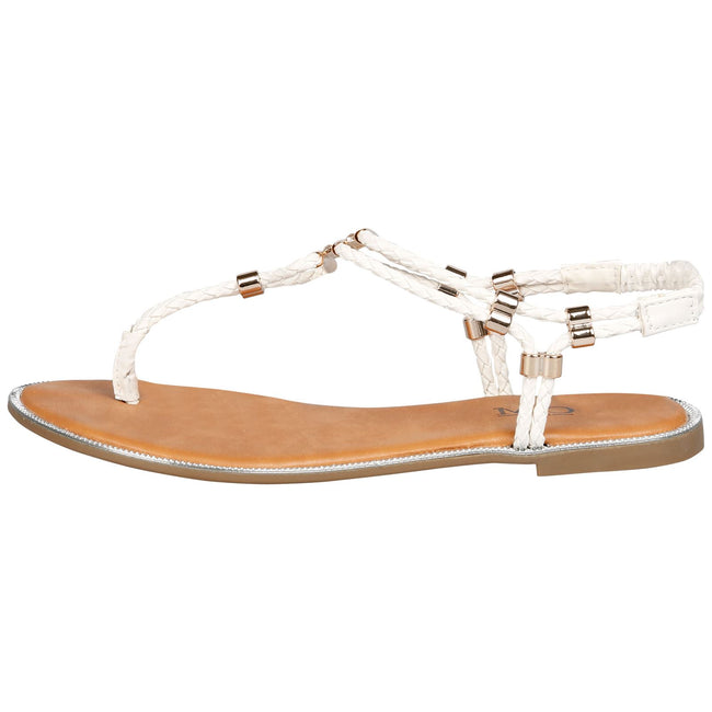 Rosielee Braided Sandals in White Faux Leather