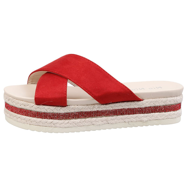 Primrose Diamante Sole Sliders in Red Faux Suede