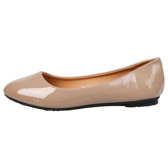 Thelma Ballet Flats in Tan Patent