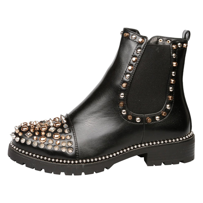 Treasure Studded Elasticated Ankle Boots in Black / Gold