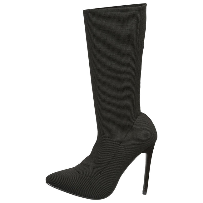 Kailey Stilleto Heel Under Knee Boots   in Black - Feet First Fashion