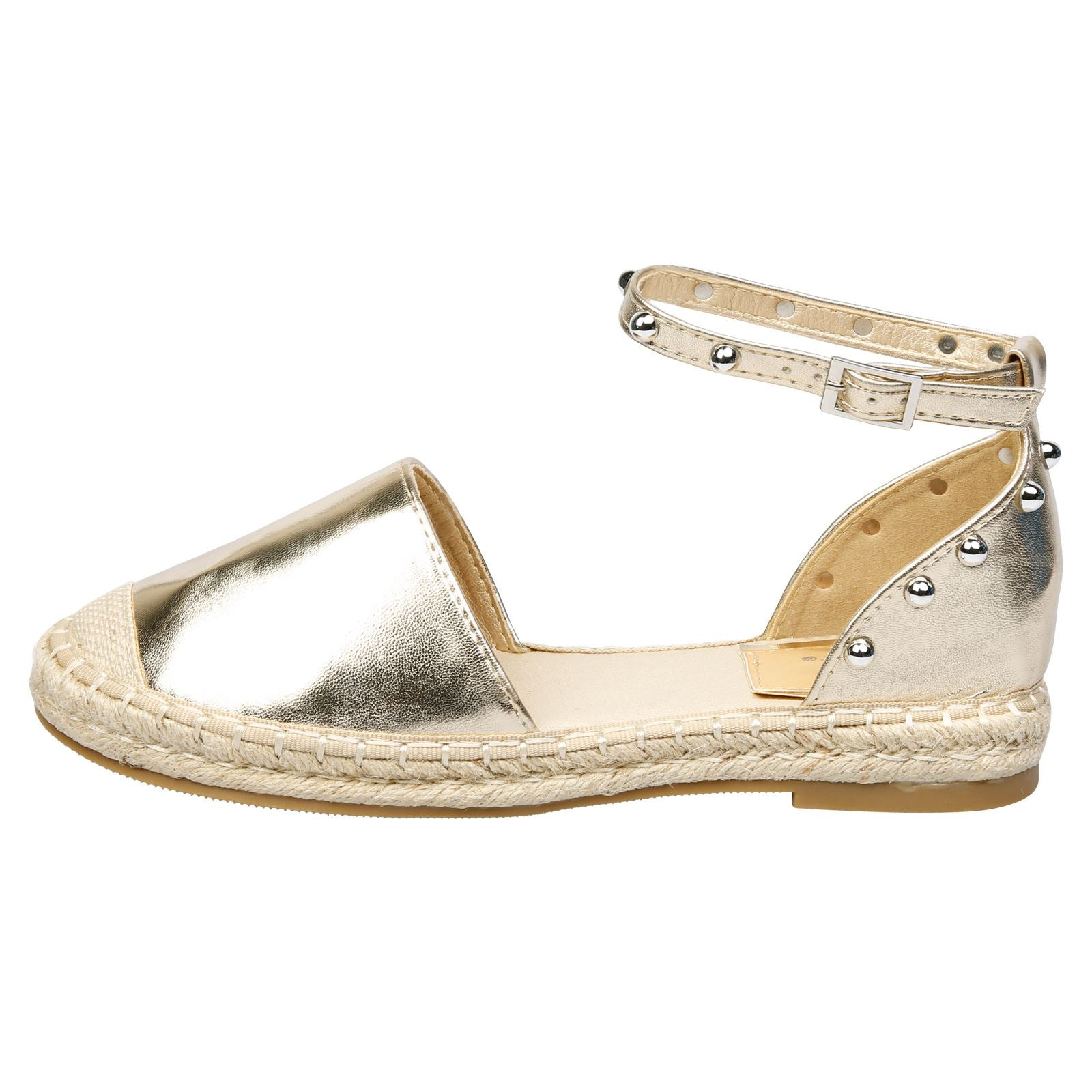 Andrea Studded Ankle Strap Espadrilles in Gold Faux Leather