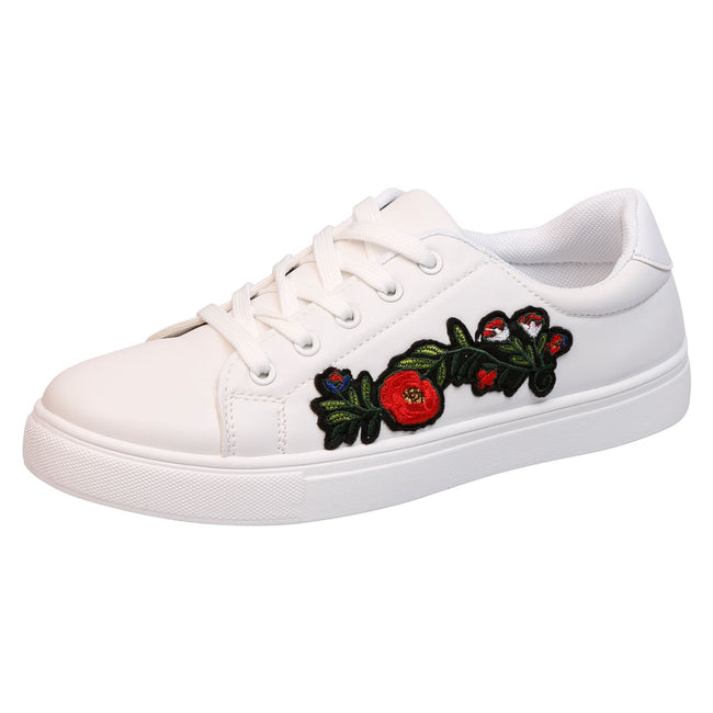 Halle Floral Embroidered Skater Pumps in White Faux Leather