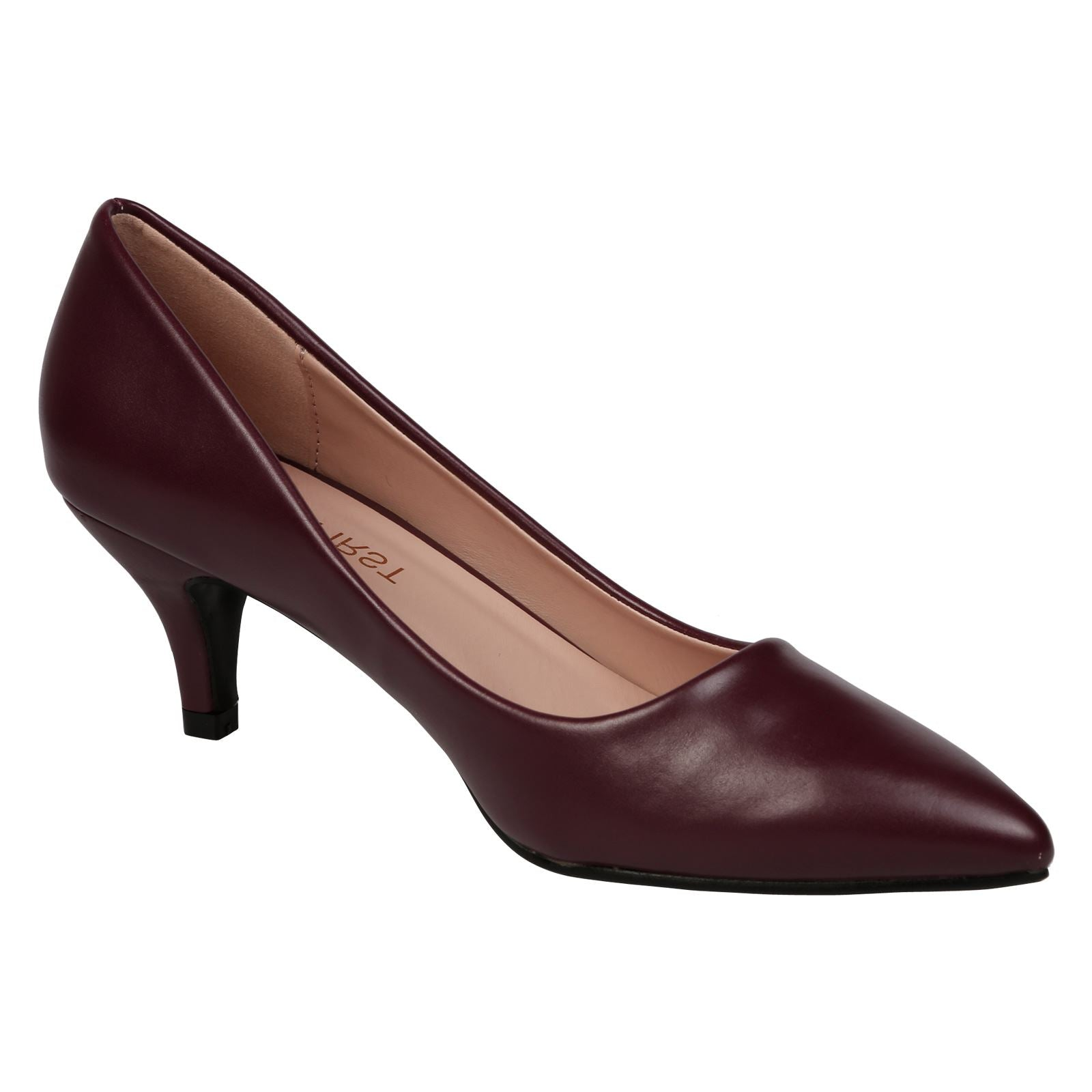 Miranda Kitten Heel Pointed Toe Court Shoes in Wine Faux Leather